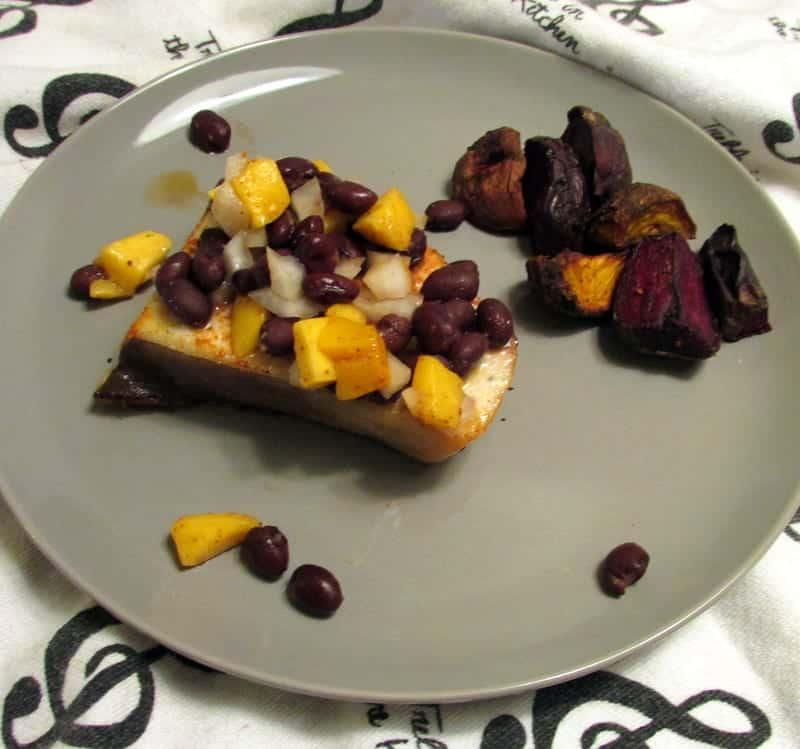black bean mango swordfish