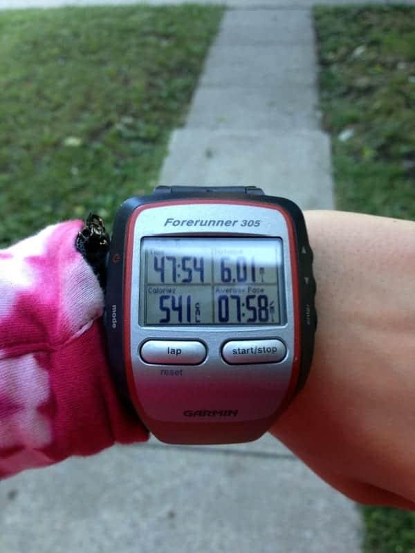 6 mile run garmin