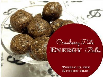 Cranberry Date Energy Balls via Treble in the Kitchen