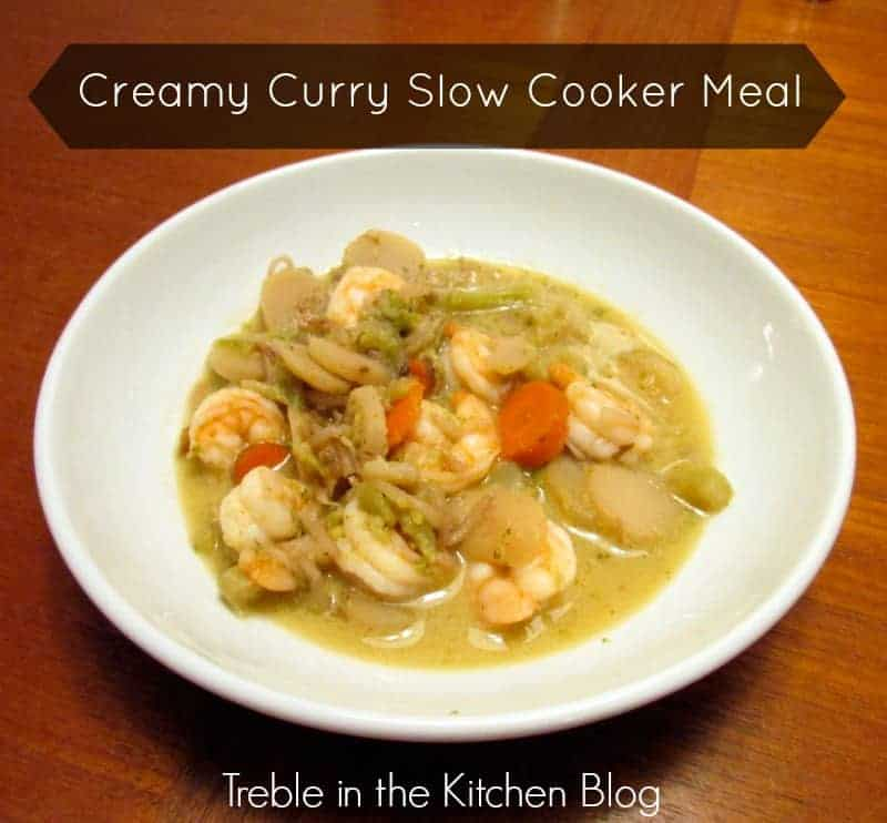 creamy curry slow cooker meal via treble in the kitchen