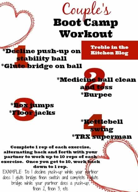 Couple's Boot Camp Workout via Treble in the Kitchen