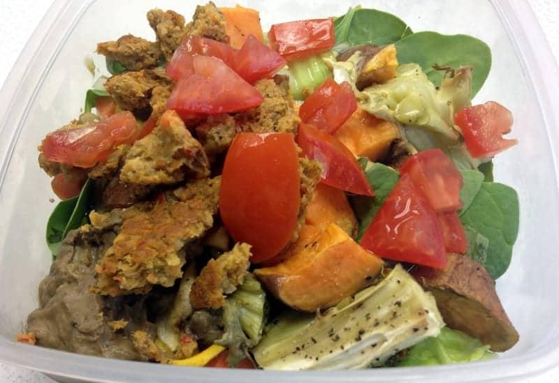 Chickpea Lentil Veggie Burger salad via Treble in the Kitchen