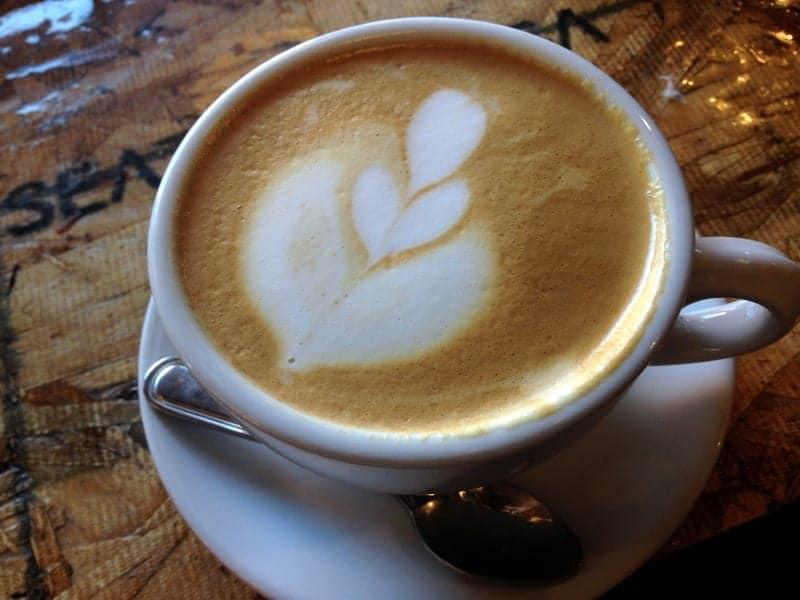 almond milk latte at Thump