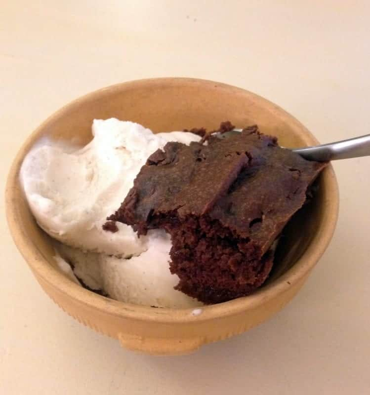 healthy brownie and coconut milk ice cream