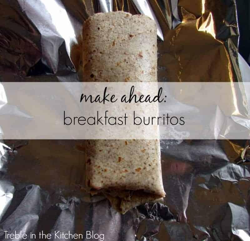 make ahead breakfast burritos via treble in the kitchen