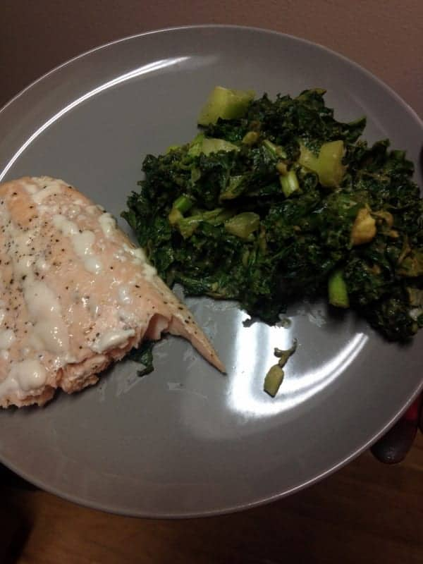 Kale Salad and Salmon