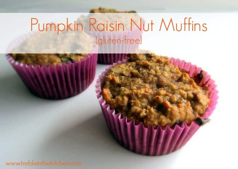 Pumpkin Raisin Nut Muffins via Treble in the Kitchen