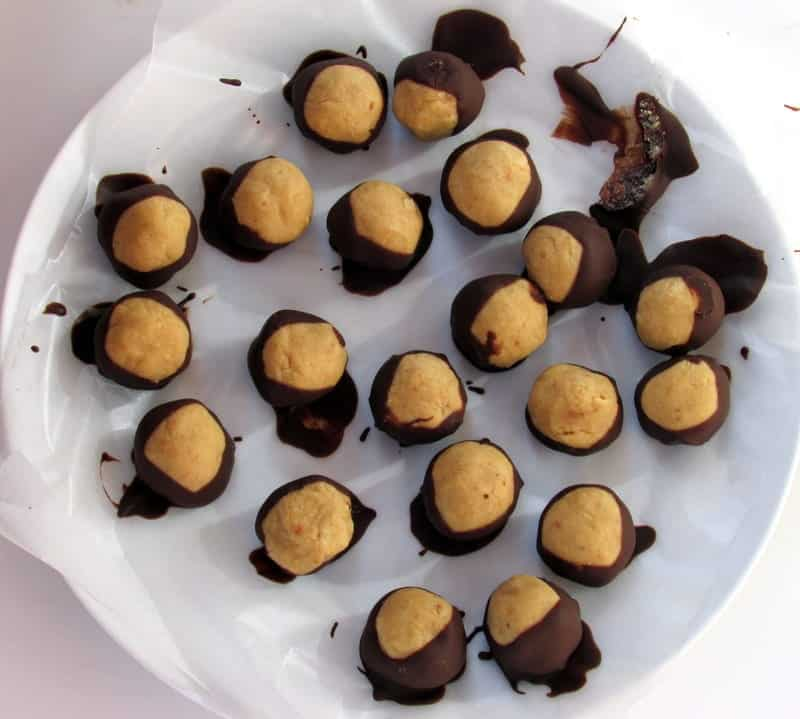 Honey Vanilla Bourbon Buckeyes via Treble in the Kitchen