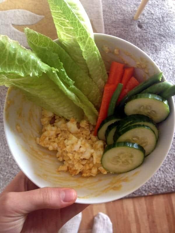 lunch - HB egg, veggies, dijon