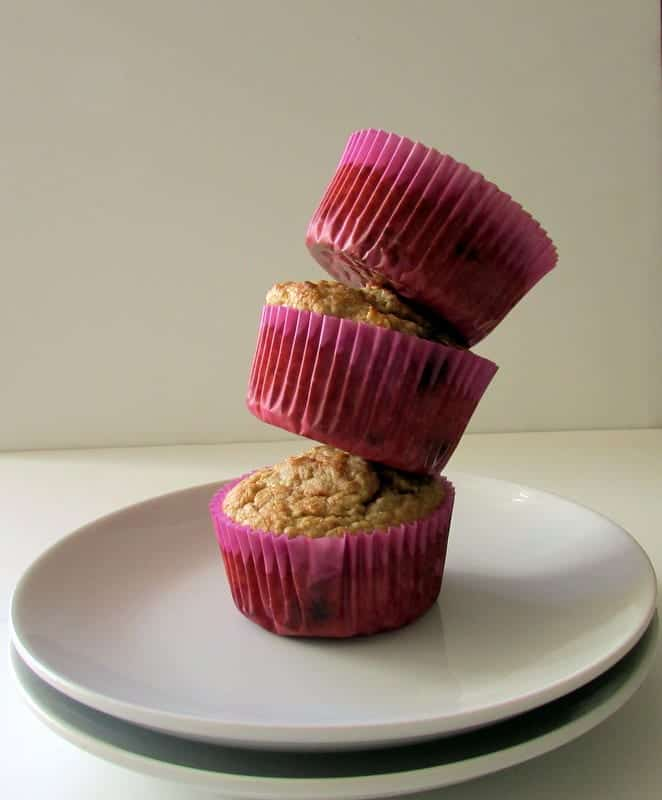 Oatmeal Chocolate Chip Muffins via Treble in the Kitchen #madewithchobani