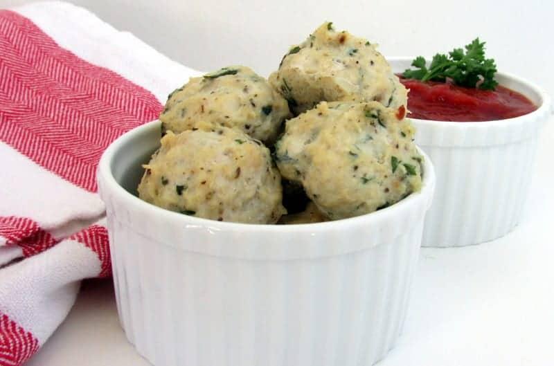 Herb Chicken Meatballs and Homemade Marinara via Treble in the Kitchen