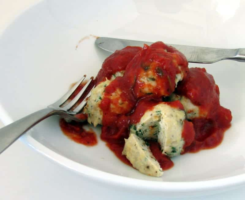 Herb Chicken Meatballs and Homemade Marinara via Treble in the Kitchen