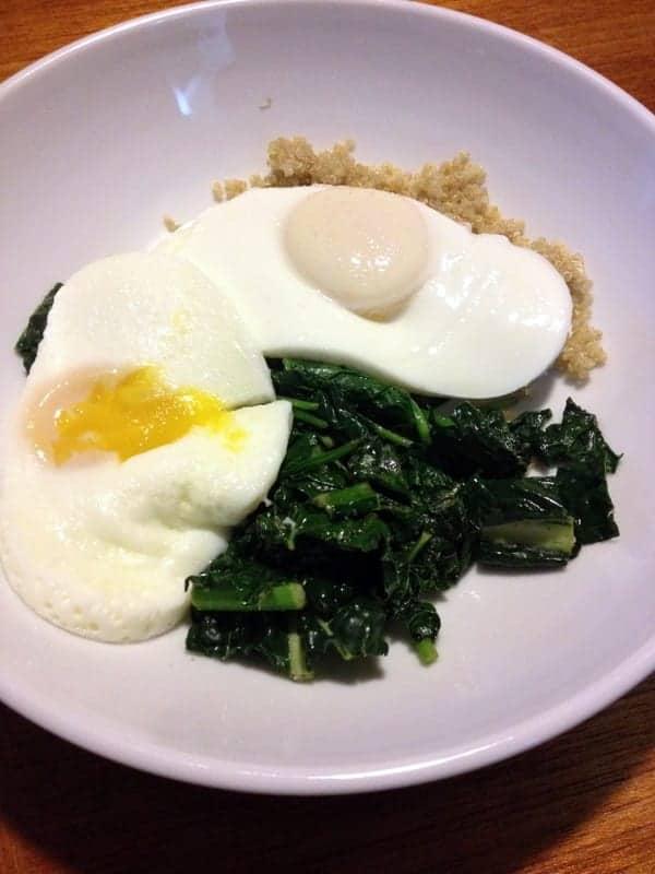 kale, quinoa, and eggs