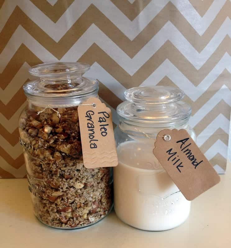 granola and almond milk