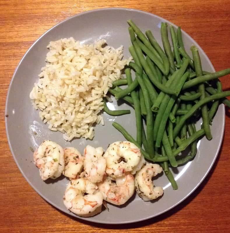 shrimp rice and green beans dinner