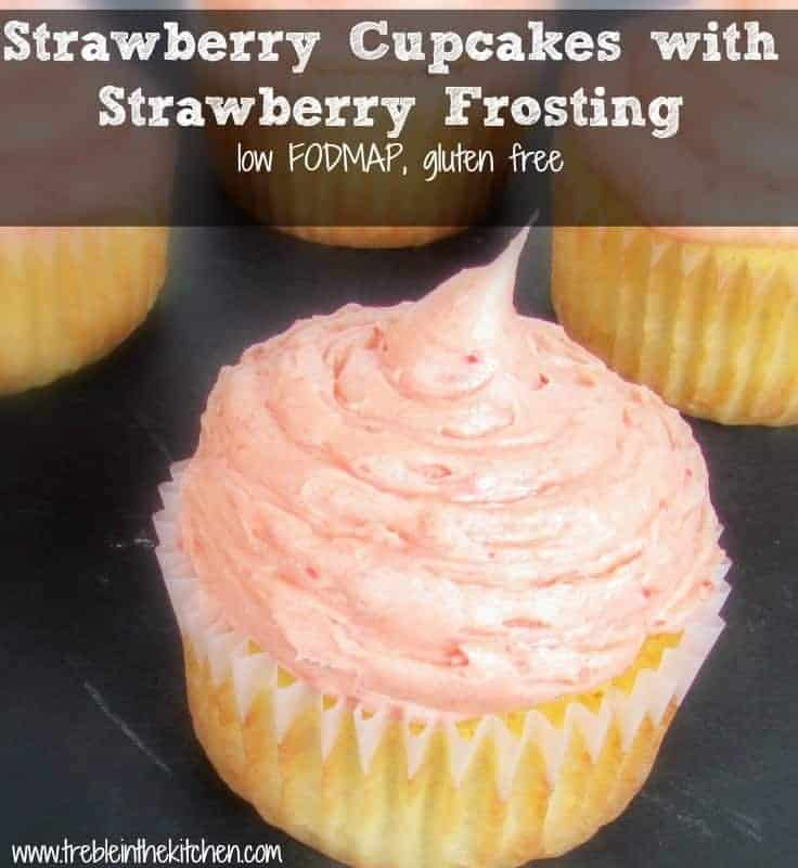 low FODMAP strawberry cupcakes and frosting via Treble in the Kitchen