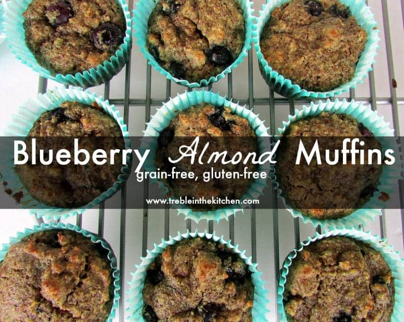 Blueberry Almond Muffins via Treble in the Kitchen