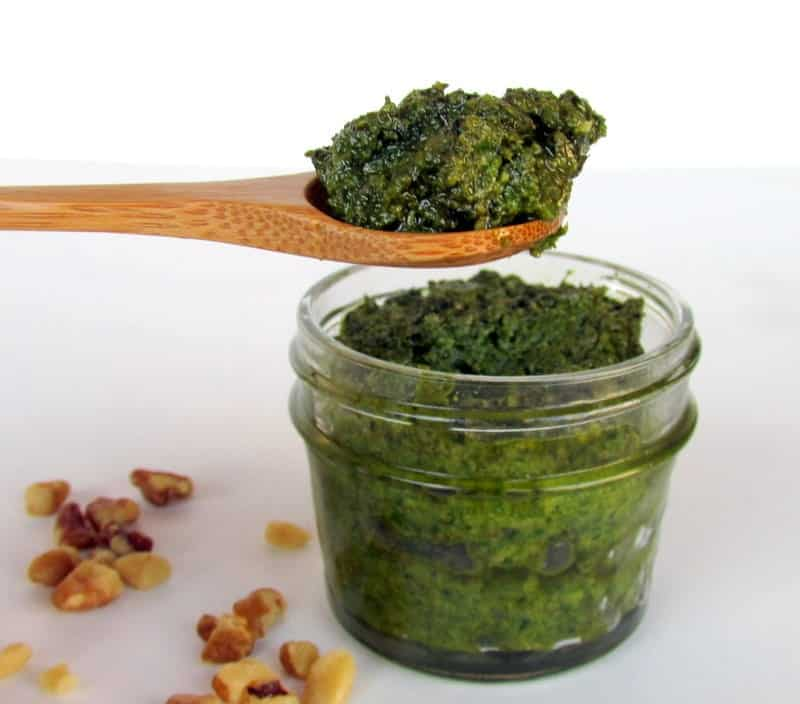 Basil Walnut Pesto low FODMAP via Treble in the Kitchen