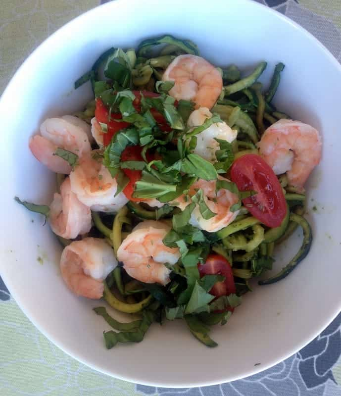 Pesto Zucchini Noodles with Shrimp | Treble in the Kitchen