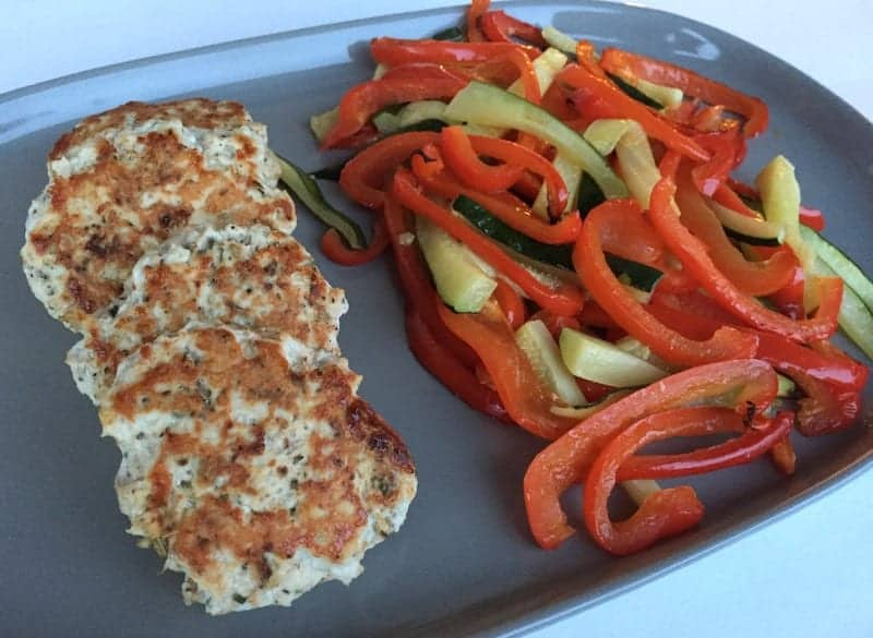 italian chicken burgers and roasted veggies from treble in the kitchen low fodmap, gluten free, paleo friendly