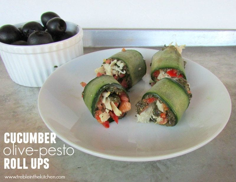 Cucumber Olive-Pesto Roll Ups - low fodmap from Treble in the Kitchen