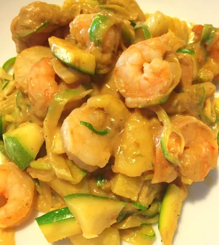 Zoodles with Shrimp and Thai Peanut Sauce
