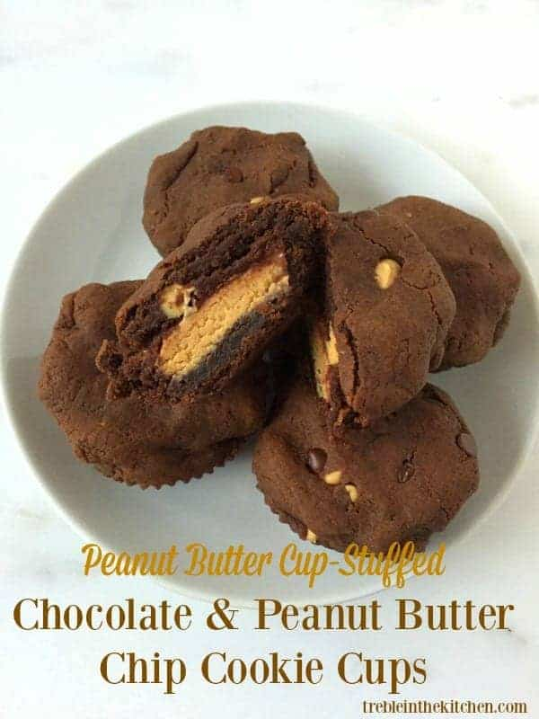 Peanut Butter Cup Stuffed Chocolate Peanut Butter Chip Cookie Cups from Treble in the Kitchen