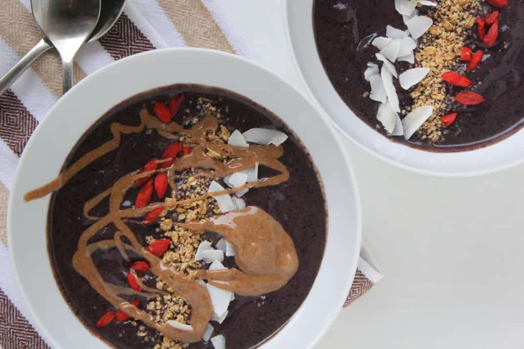 Wild Blueberry Cacao Smoothie Bowl from Treble in the Kitchen