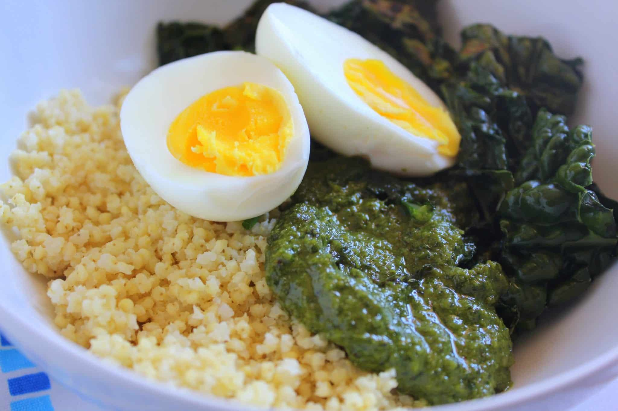 kale and pesto millet bowls via treble in the kitchen