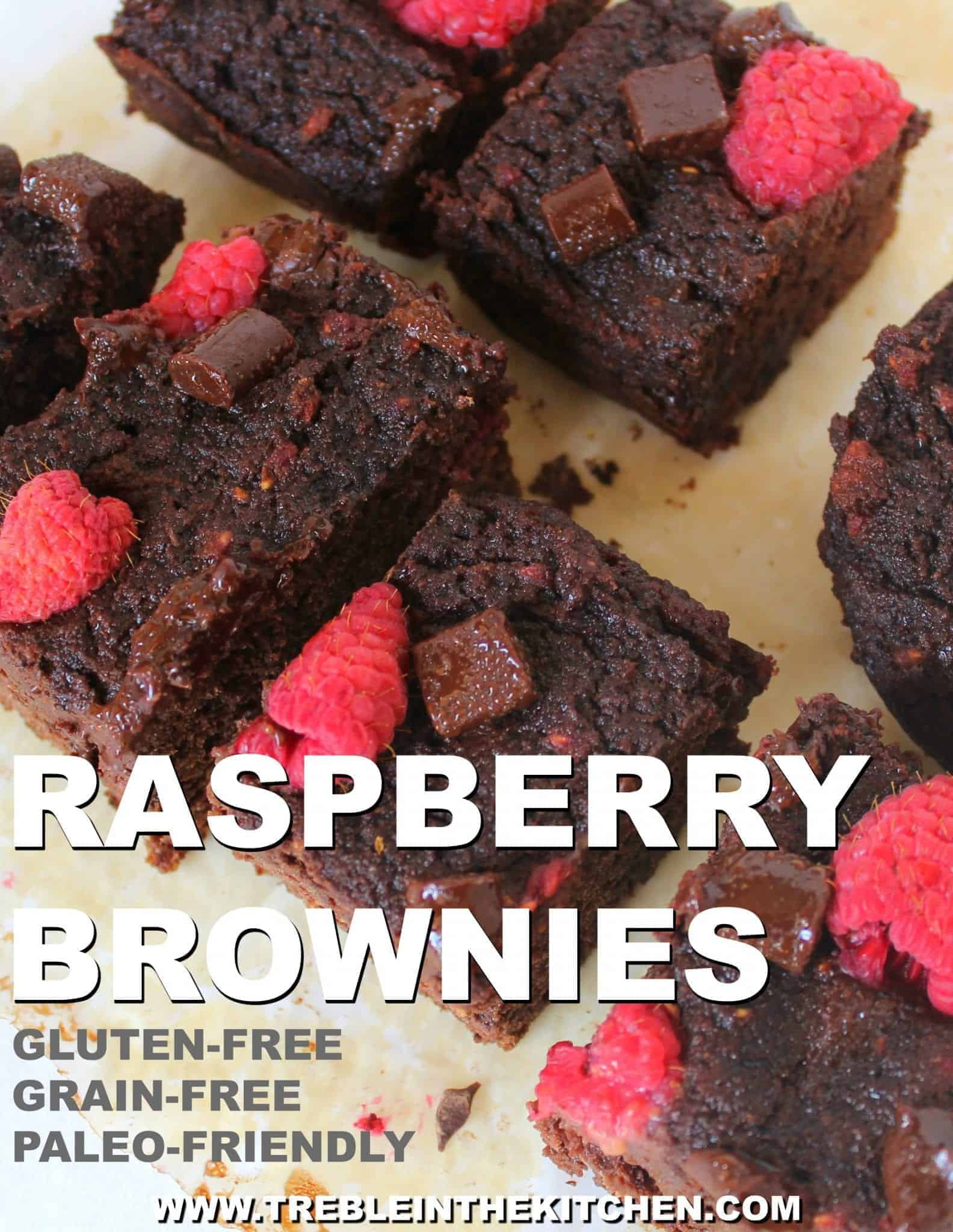 Paleo Raspberry Brownies from Treble in the Kitchen