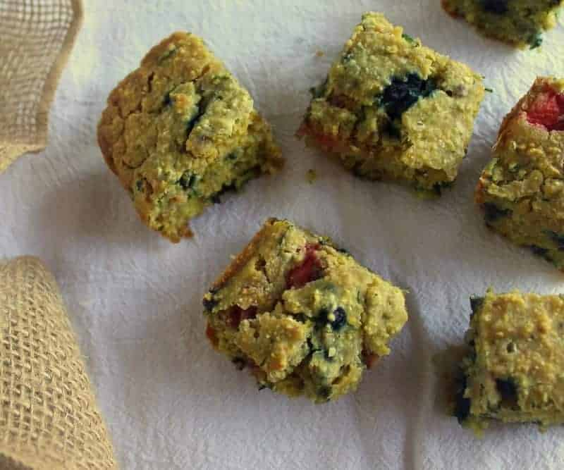 Red and Blue Berry Thyme Zucchini Cornbread from Treble in the Kitchen