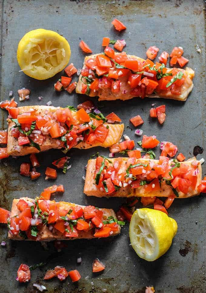 roasted salmon with tomato basil relish by destination delish