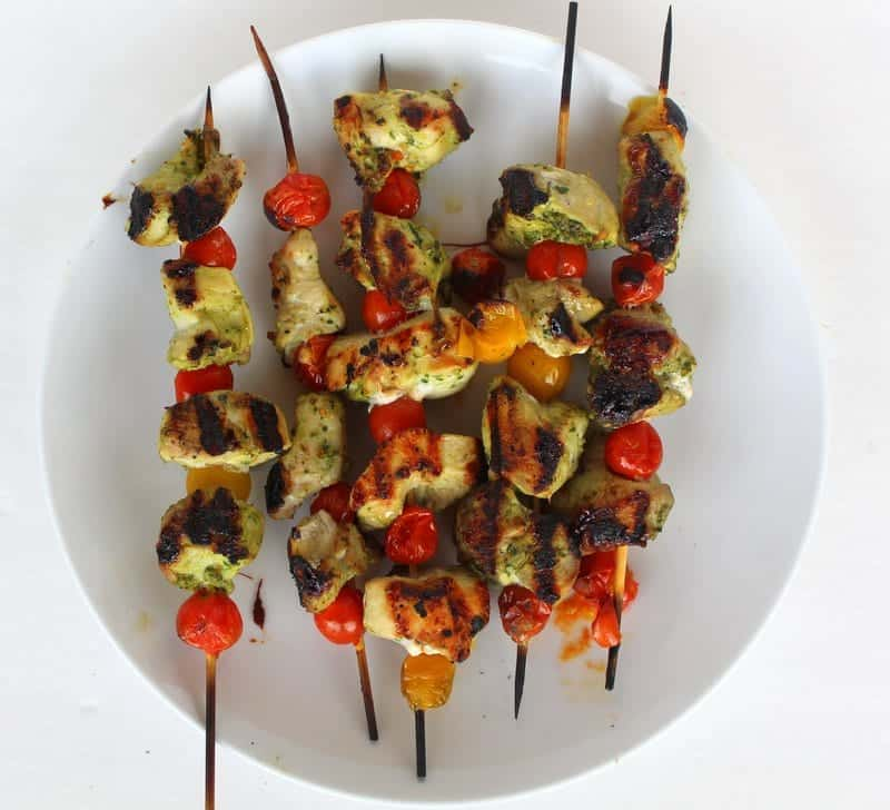 Pesto Chicken Tomato Kabobs from Treble in the Kitchen