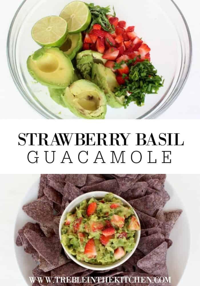 Strawberry Basil Guacamole from Treble in the Kitchen