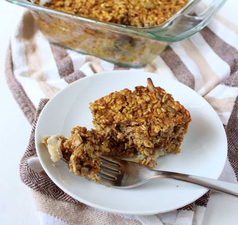 Pumpkin Baked Oatmeal from Treble in the Kitchen low FODMAP, gluten free, dairy free