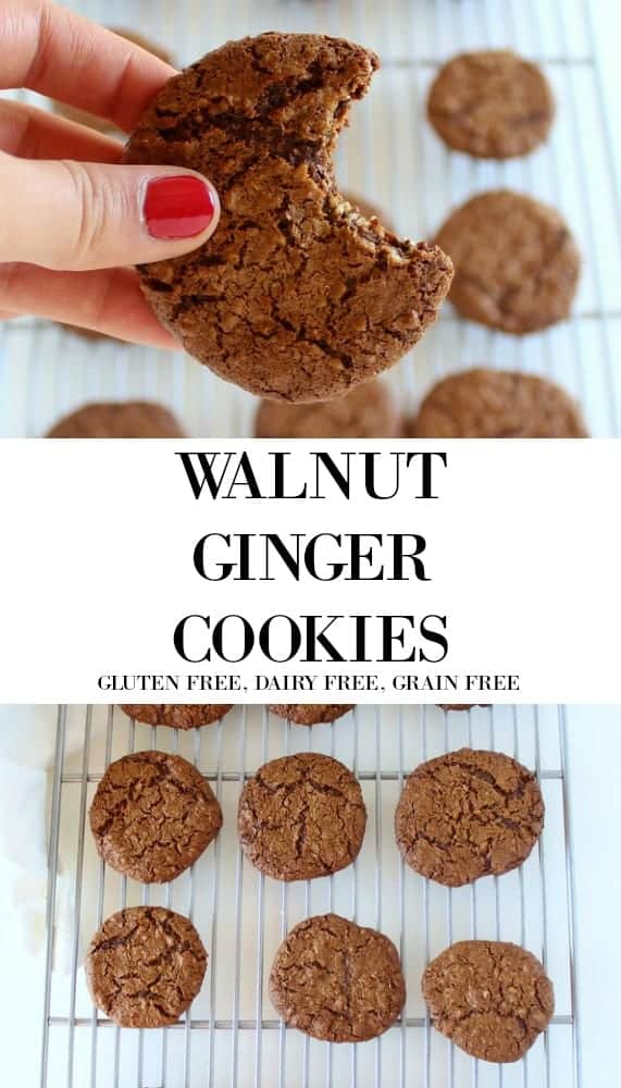 Walnut Ginger Cookies low FODMAP, gluten free, grain free, paleo