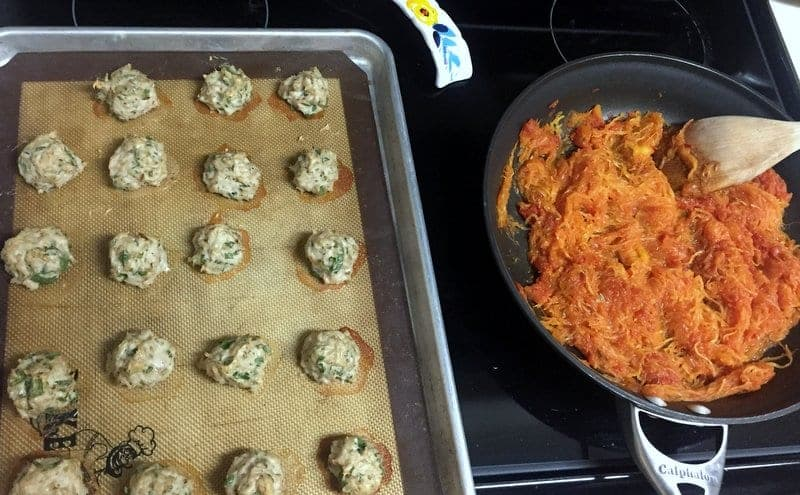 chicken meatballs and spaghetti squash