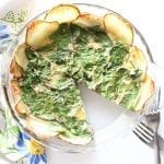 Spinach Quiche with Potato Crust - low FODMAP, gluten free, grain free, dairy free #BeholdPotatoes