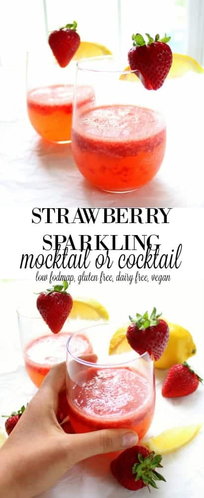 Sparkling Strawberry Mocktail or Cocktail - low FODMAP, gluten free, grain free, dairy free, vegan