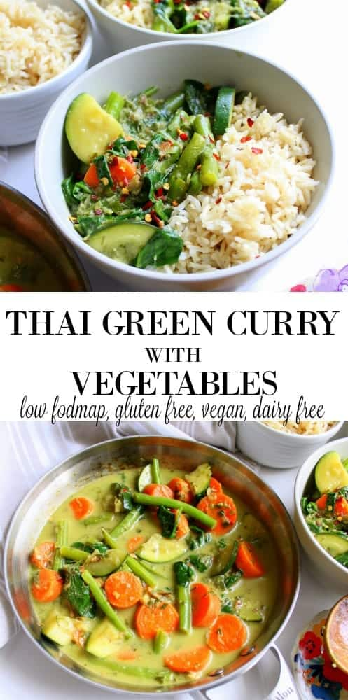 Thai Green Curry with Vegetables low FODMAP, gluten free, dairy free