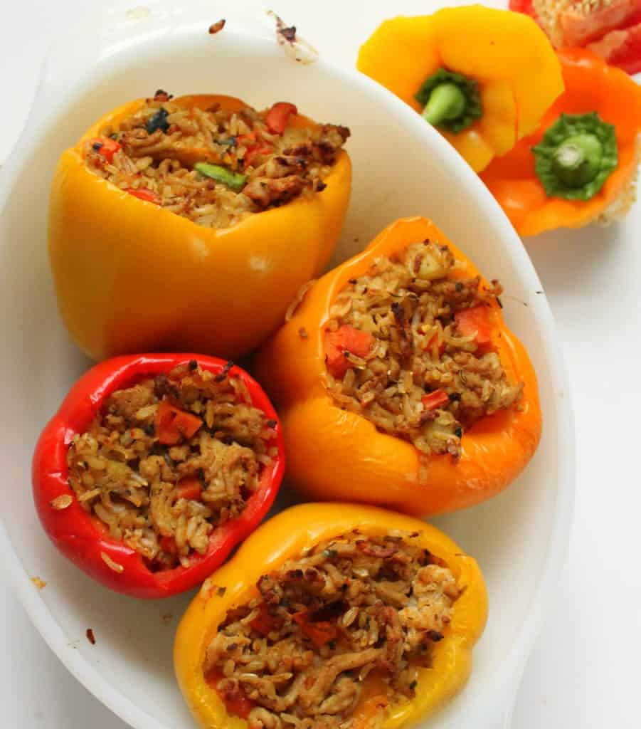 Stuffed Peppers - low FODMAP, gluten free, dairy free