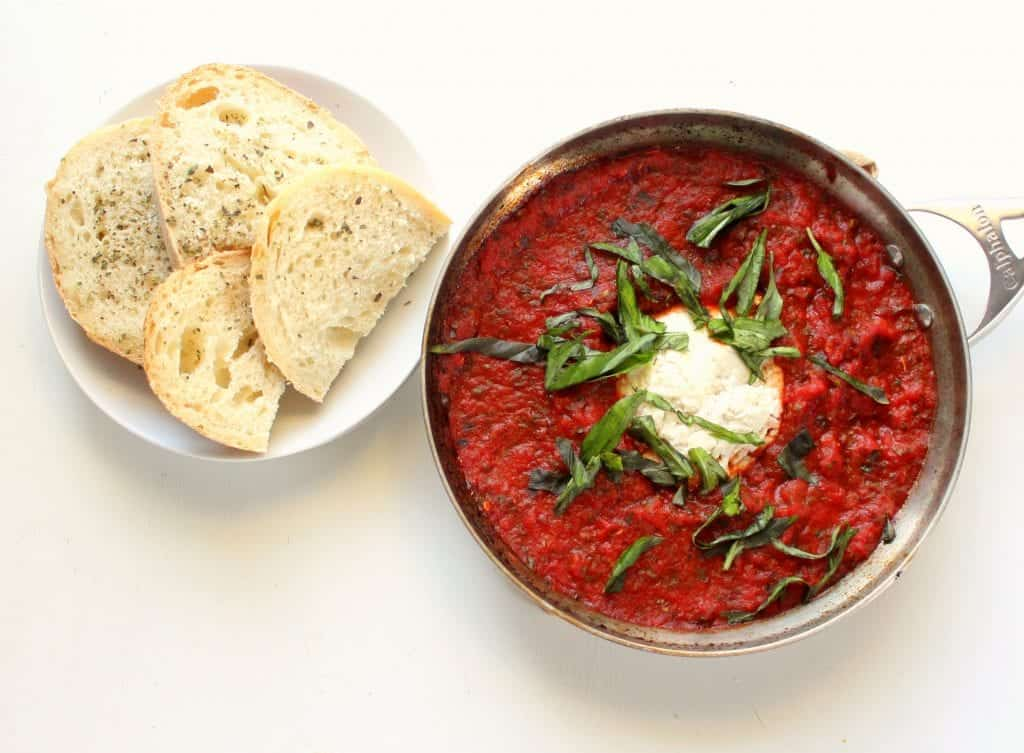 Baked Ricotta and Marinara Appetizer - low FODMAP, gluten free, dairy free, vegan