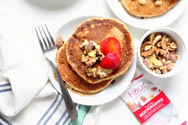 Low FODMAP Pancakes with Crunchy Trailmix Topping