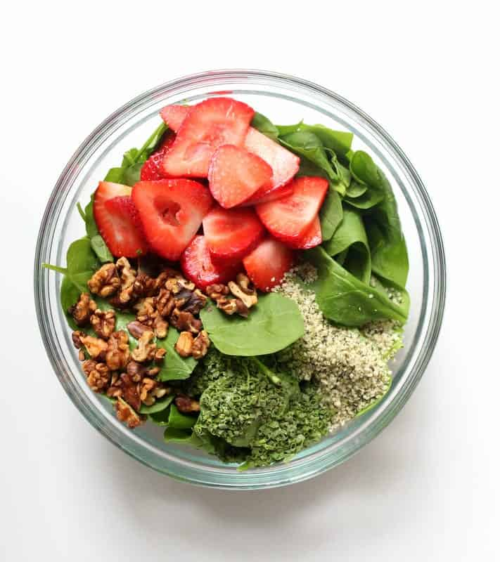 Strawberry Spinach Salad - low FODMAP, gluten free, dairy free, vegan, side dish, salad