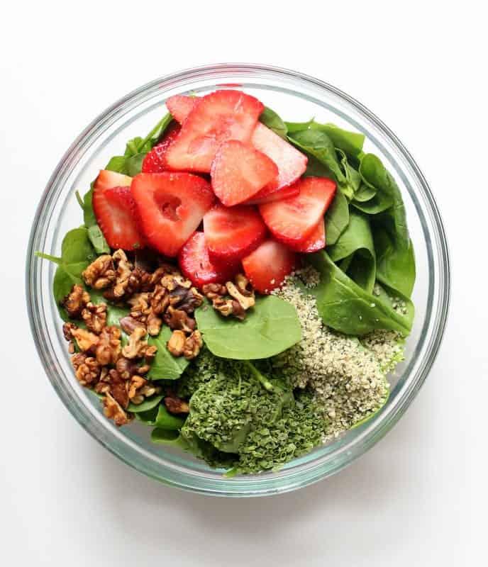 Strawberry Spinach Salad - low FODMAP, gluten free, dairy free, vegan, side dish, salad
