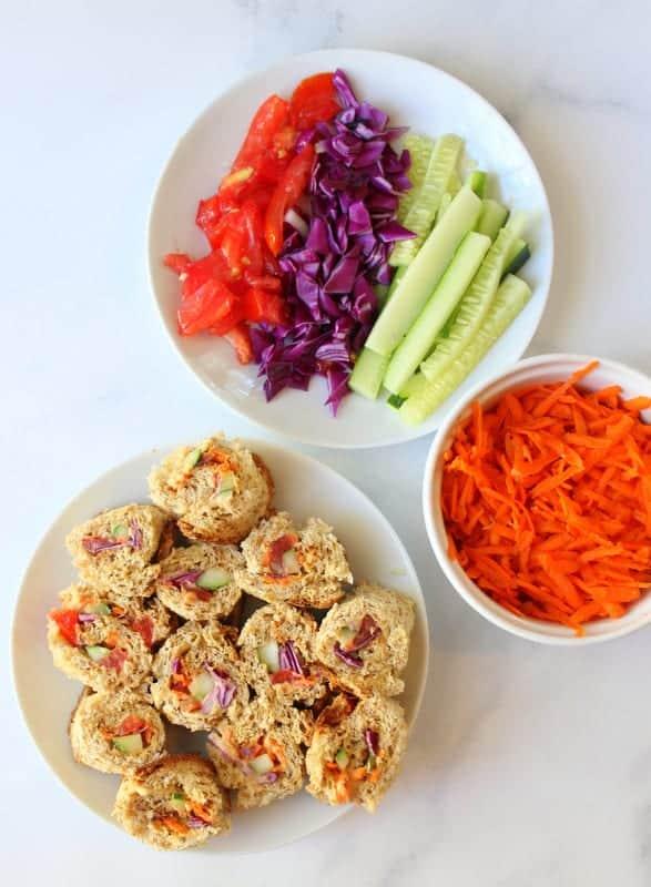Rainbow Sushi Sandwiches - #lunch #kids #kidfriendly #vegan #vegetarian #dairyfree