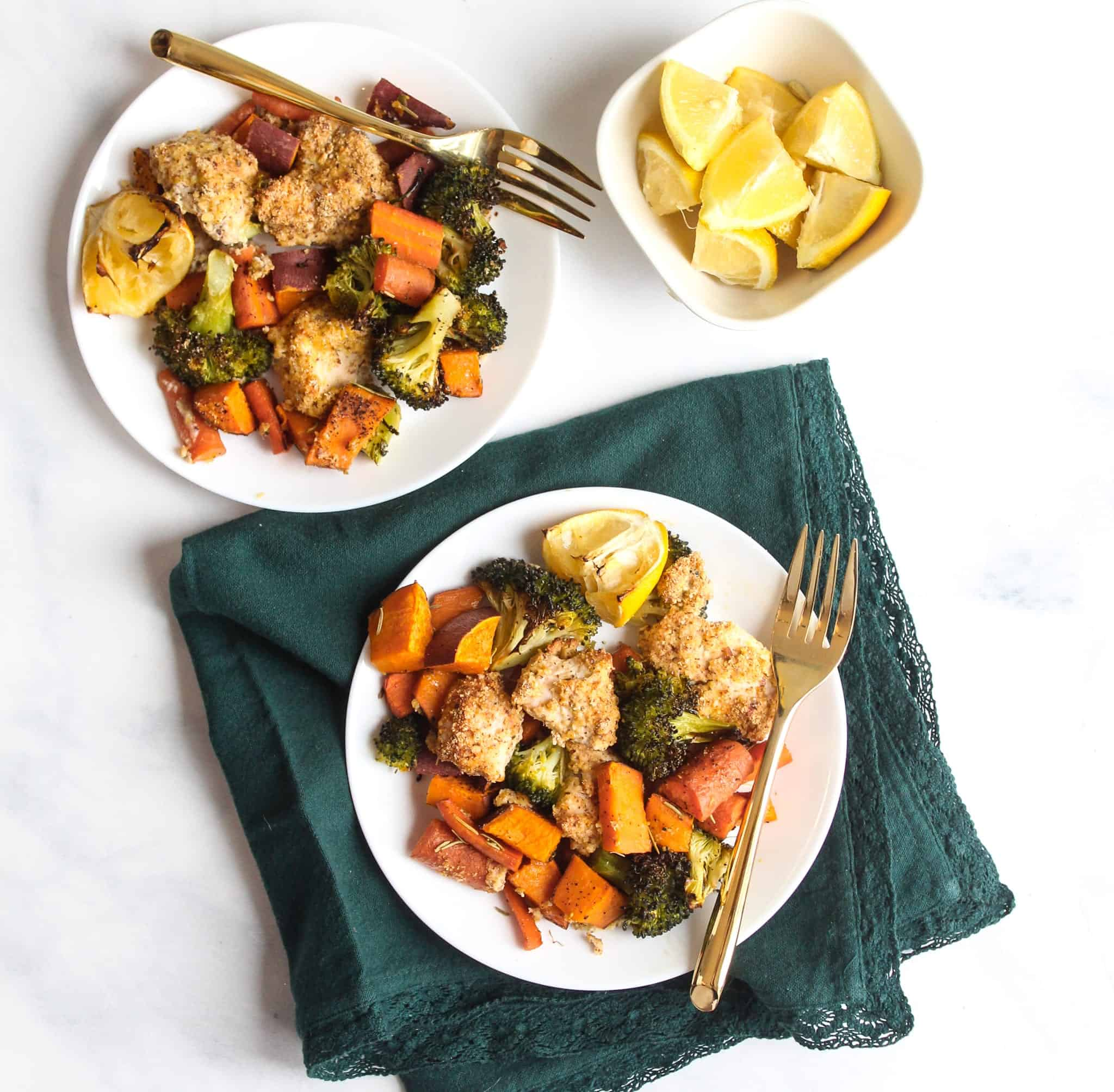 Sheet Pan Baked Almond Chicken Tenders and Roasted Vegetables #glutenfree #dairyfree #lowfodmap #healthydinner