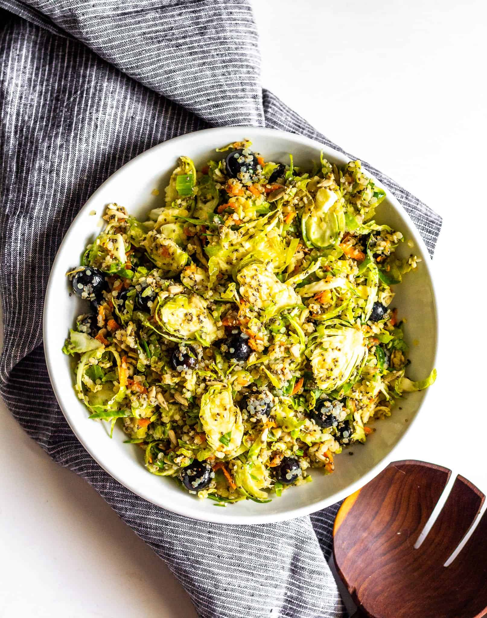Shredded Brussels Sprouts Salad with Blueberries and Quinoa #healthy #tararochfordnutrition #glutenfree #dairyfree #allergenfree