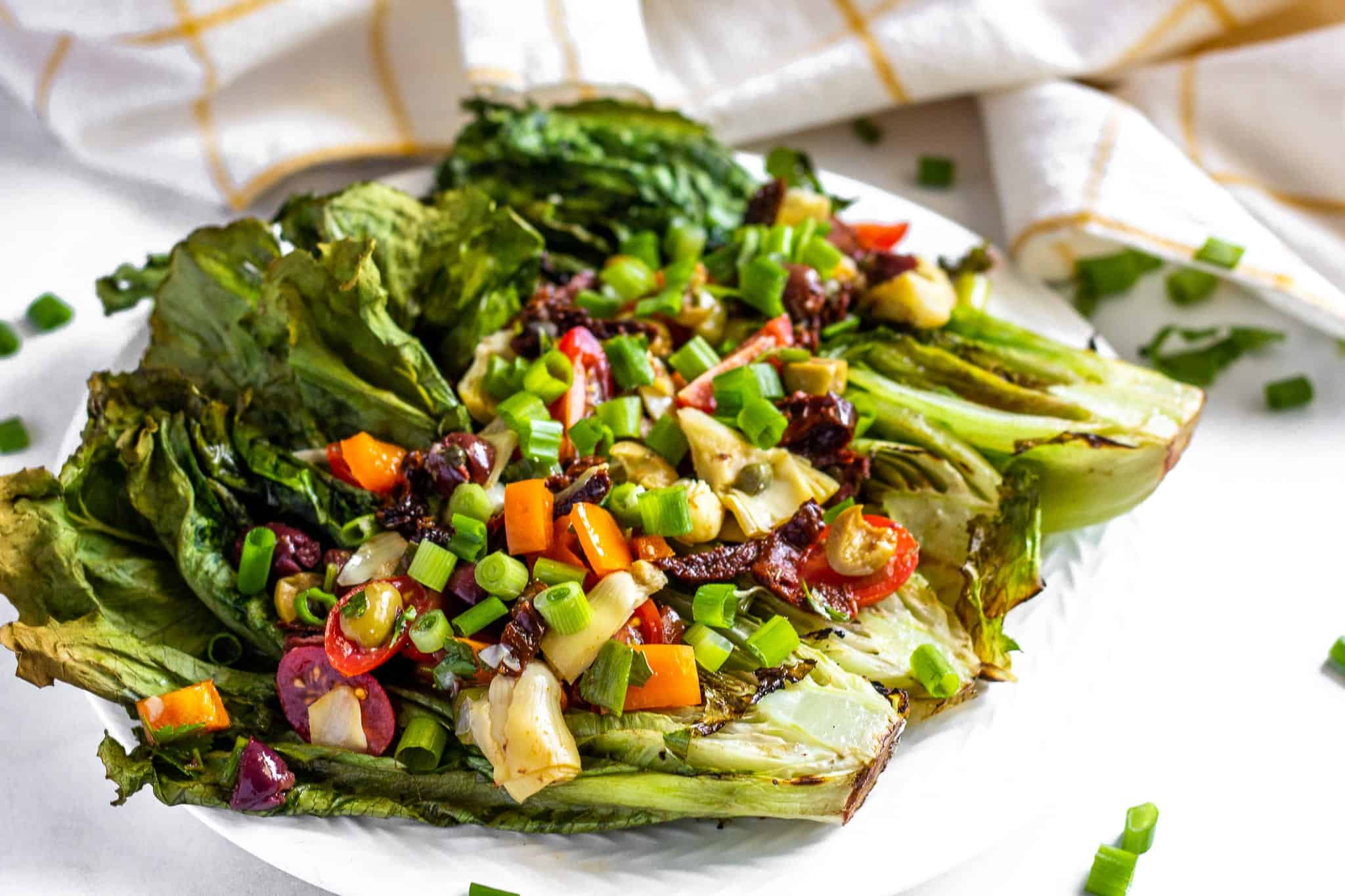 Grilled Romaine Greek Salad #lowfodmap #glutenfree #dairyfree #saladrecipe