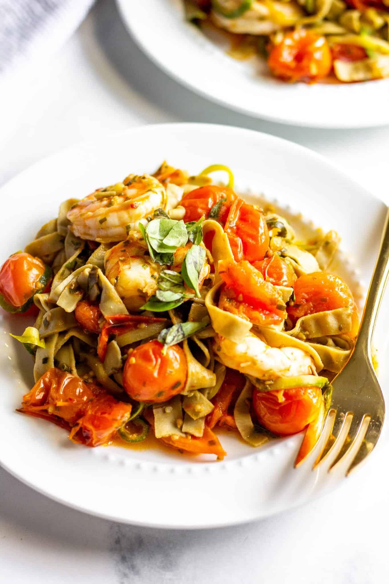 Cherry Tomato Pasta and Shrimp #lowfodmap #glutenfree #dairyfree #tararochfordnutrition